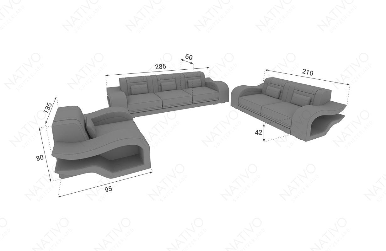 Dimensionen Designer Sofa HERMES 3+2+1 mit LED Beleuchtung