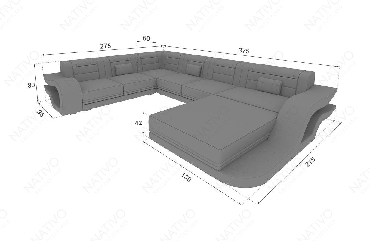 Dimensionen Designer Sofa HERMES XXL mit LED Beleuchtung