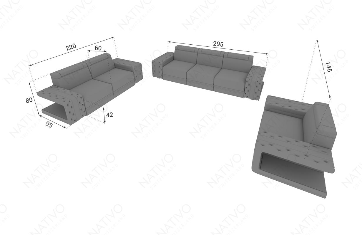 Dimensionen Designer Sofa IMPERIAL 3+2+1 mit LED Beleuchtung