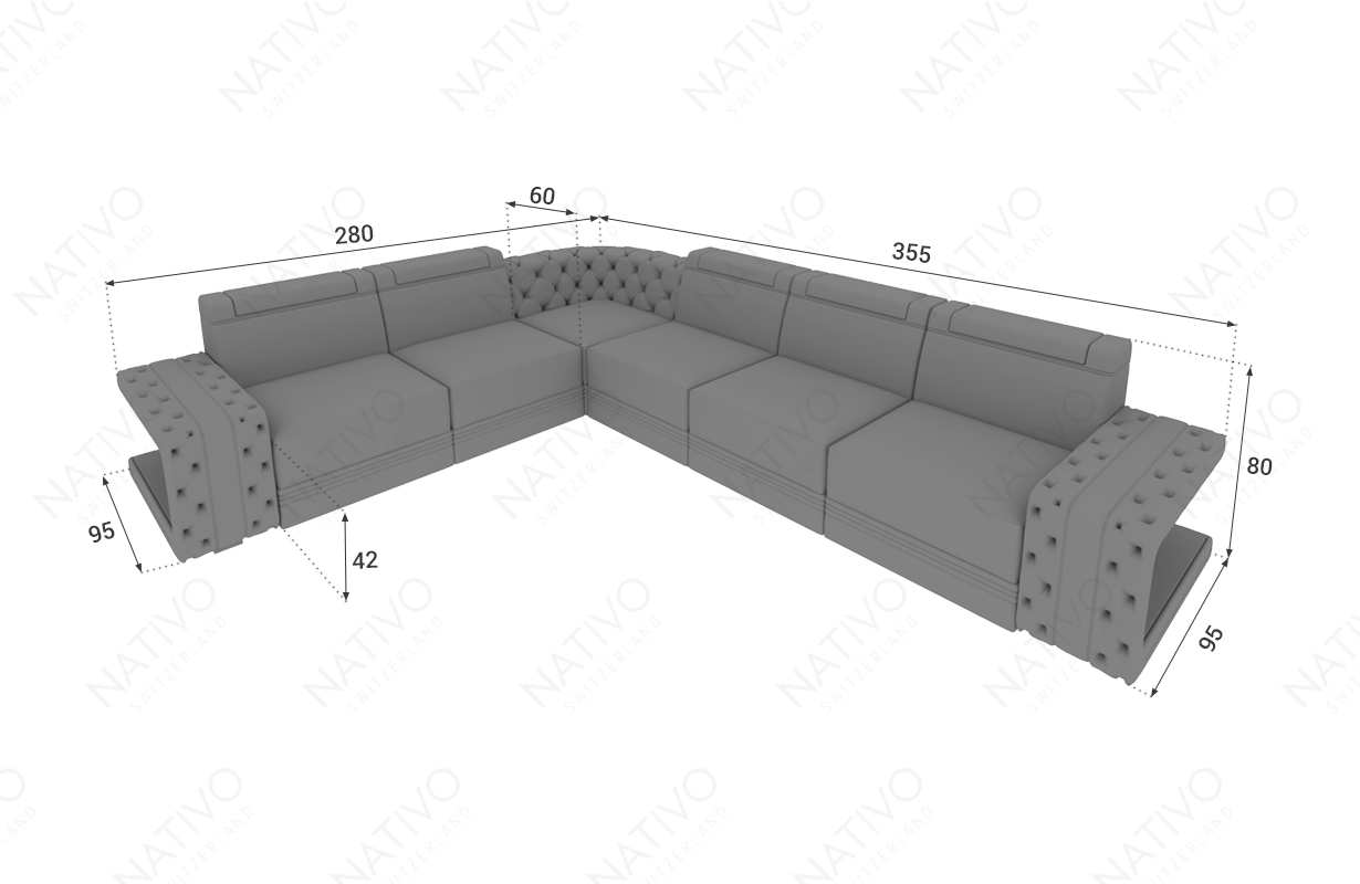 Dimensionen Designer Sofa IMPERIAL CORNER mit LED Beleuchtung
