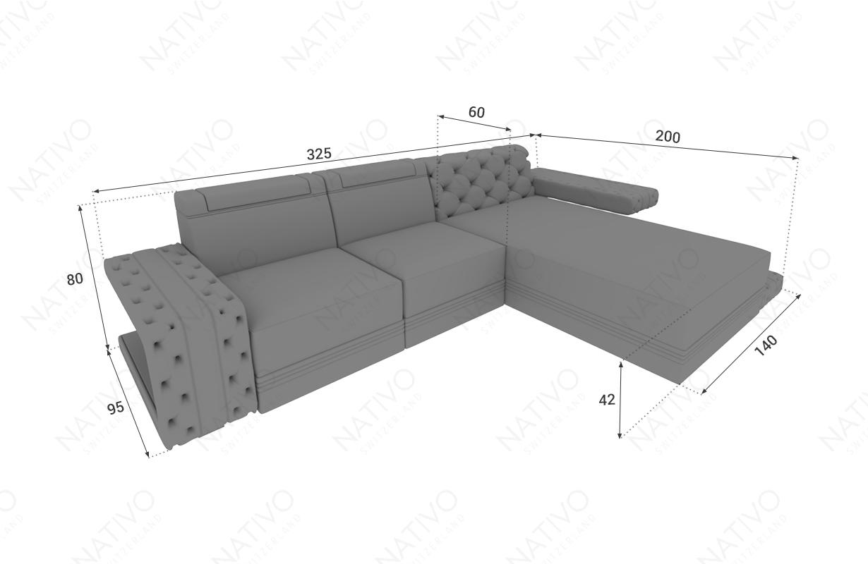 Dimensionen Designer Sofa IMPERIAL MINI mit LED Beleuchtung