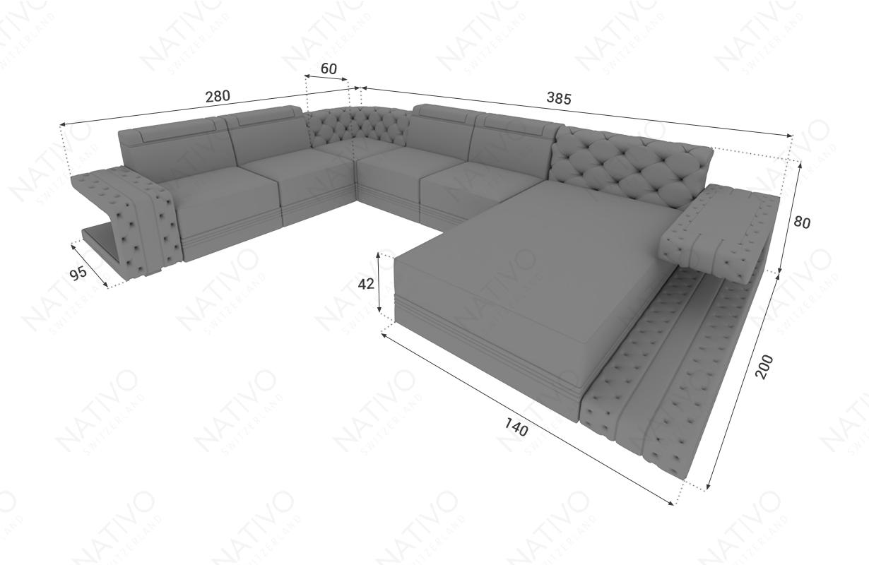 Dimensionen Designer Sofa IMPERIAL XXL mit LED Beleuchtung