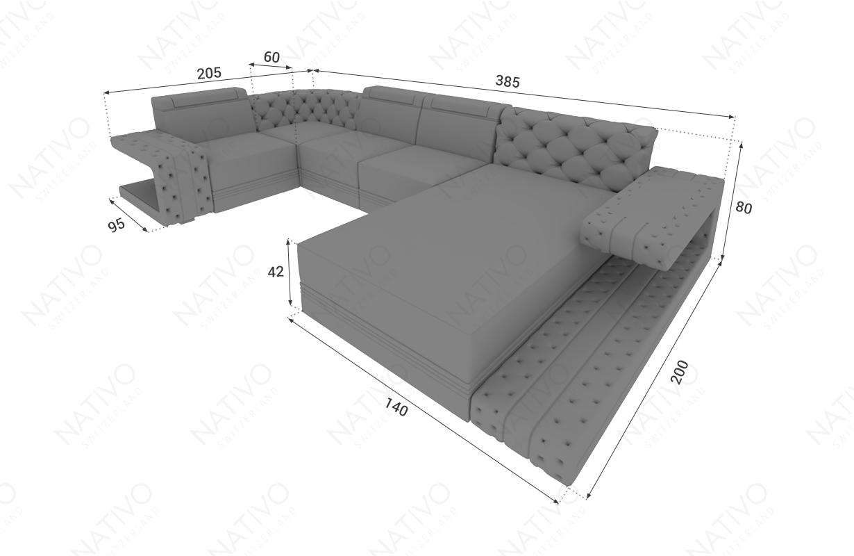 Dimensionen Designer Sofa IMPERIAL XL mit LED Beleuchtung