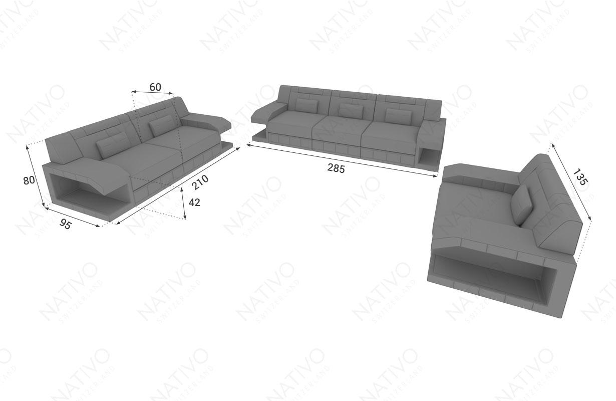 Dimensionen Designer Sofa MATIS 3+2+1 mit LED Beleuchtung