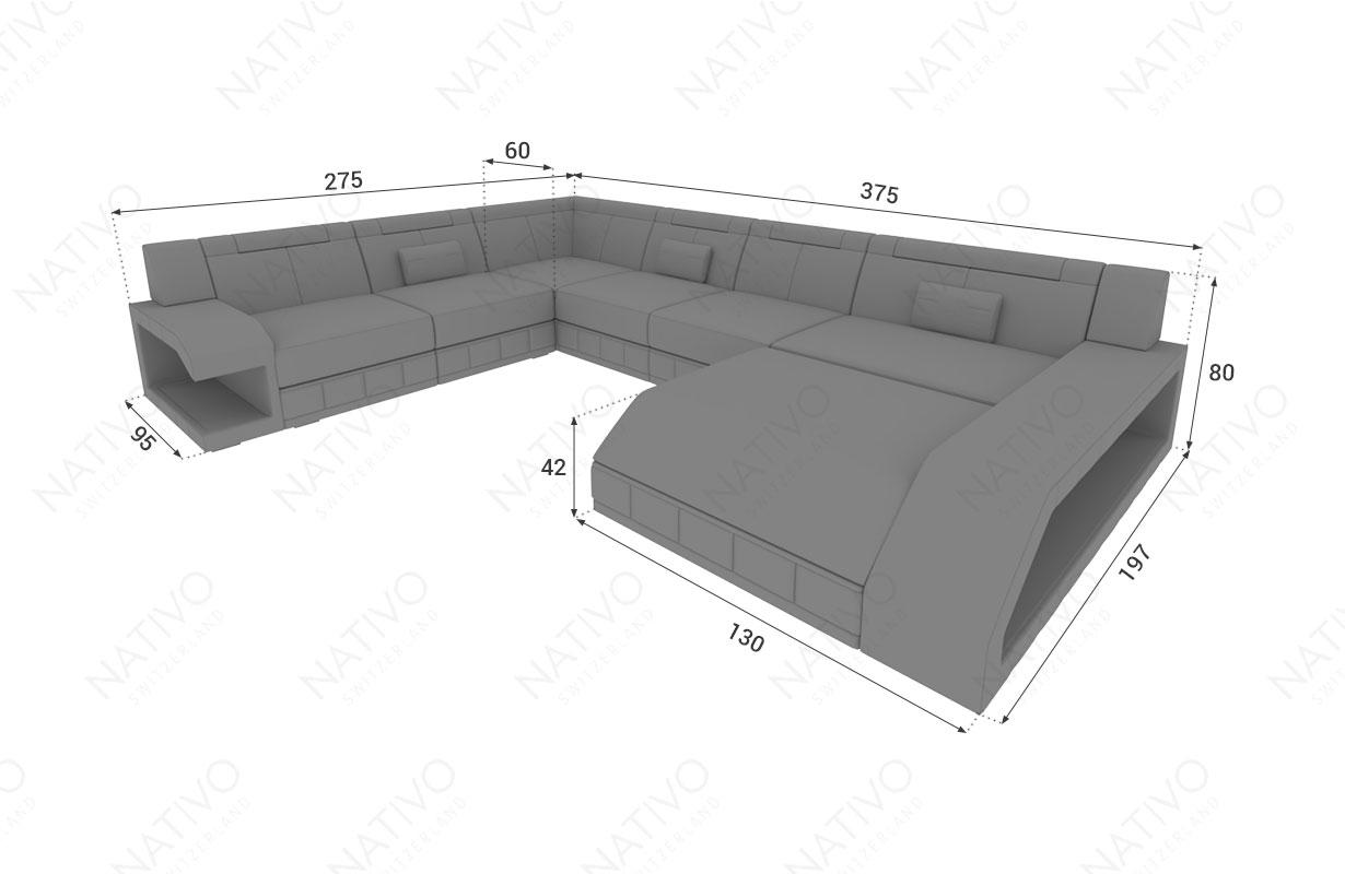 Dimensionen Designer Sofa MATIS XXL mit LED Beleuchtung