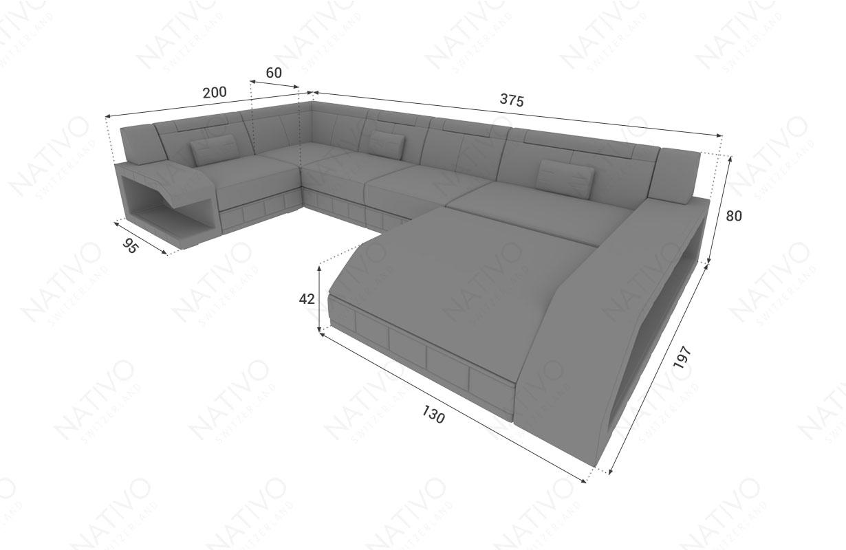 Dimensionen Designer Sofa MATIS XL mit LED Beleuchtung