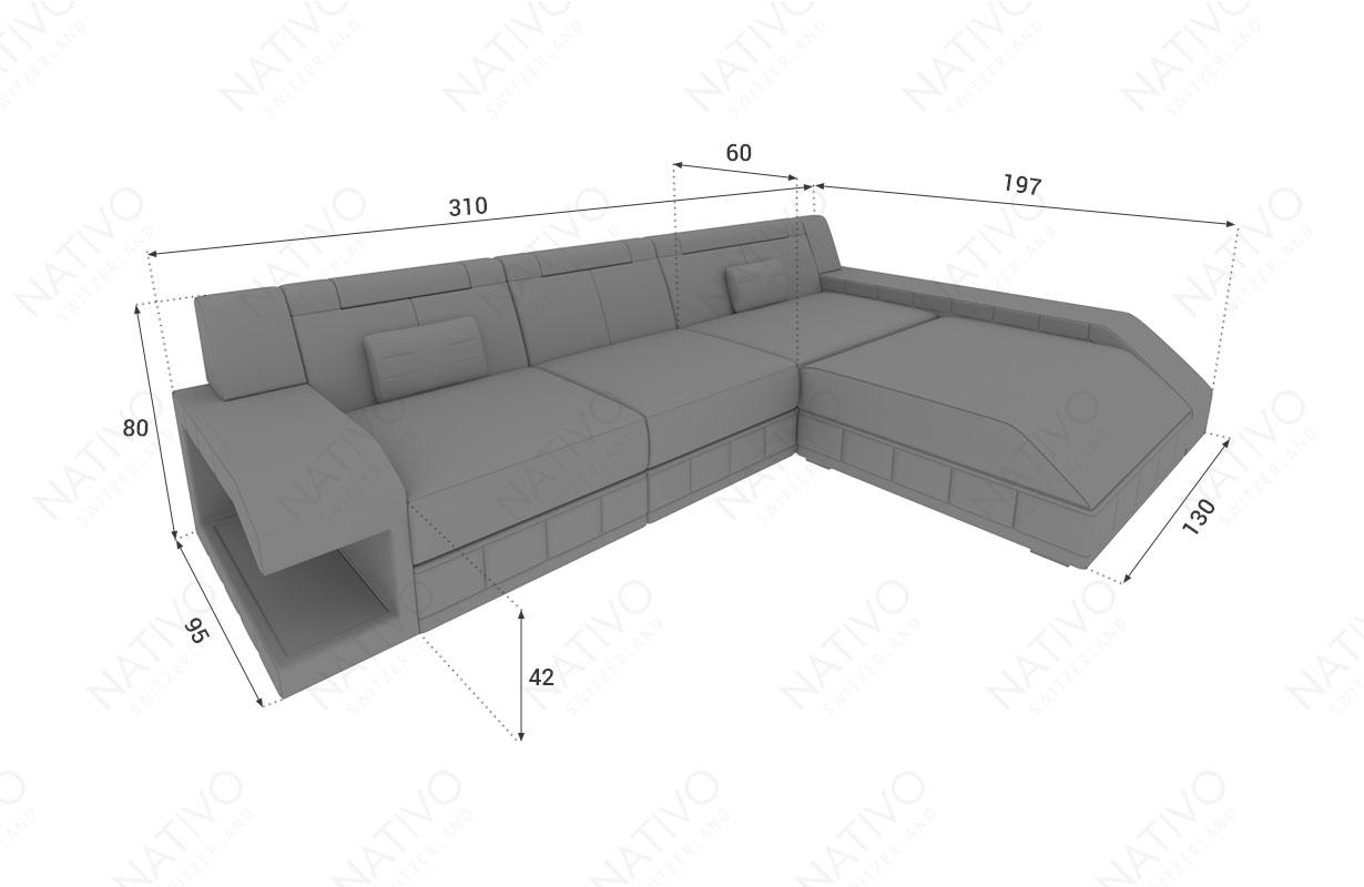 Dimensionen Designer Sofa MATIS MINI mit LED Beleuchtung