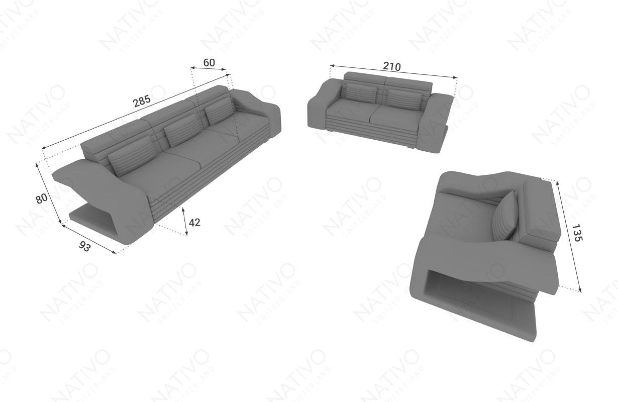 Dimensionen Designer Sofa MIRAGE 3+2+1 mit LED Beleuchtung