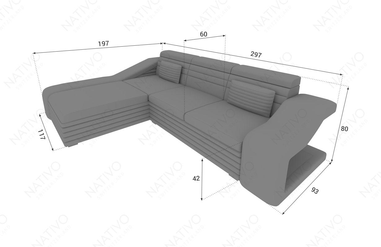 Dimensionen Designer Sofa MIRAGE MINI mit LED Beleuchtung