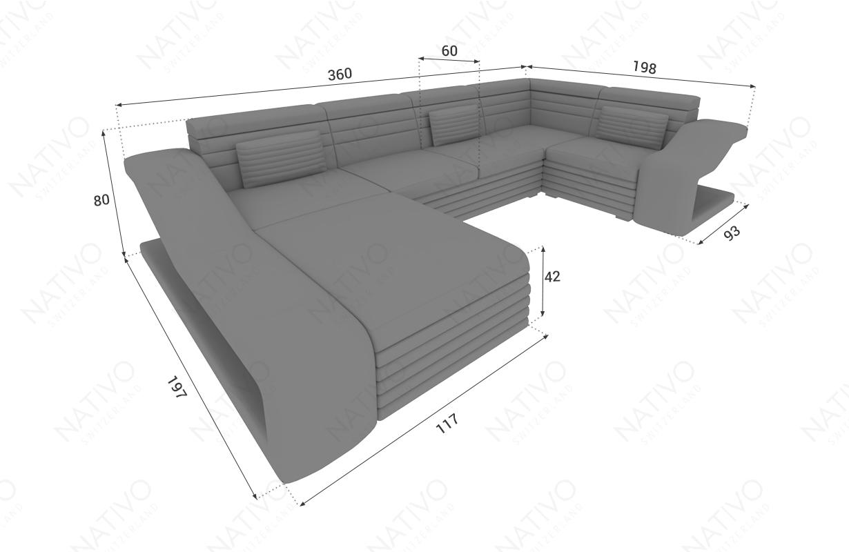 Dimensionen Designer Sofa MIRAGE XL mit LED Beleuchtung