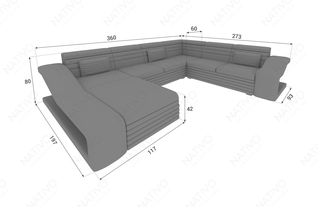 Dimensionen Designer Sofa MIRAGE XXL mit LED Beleuchtung