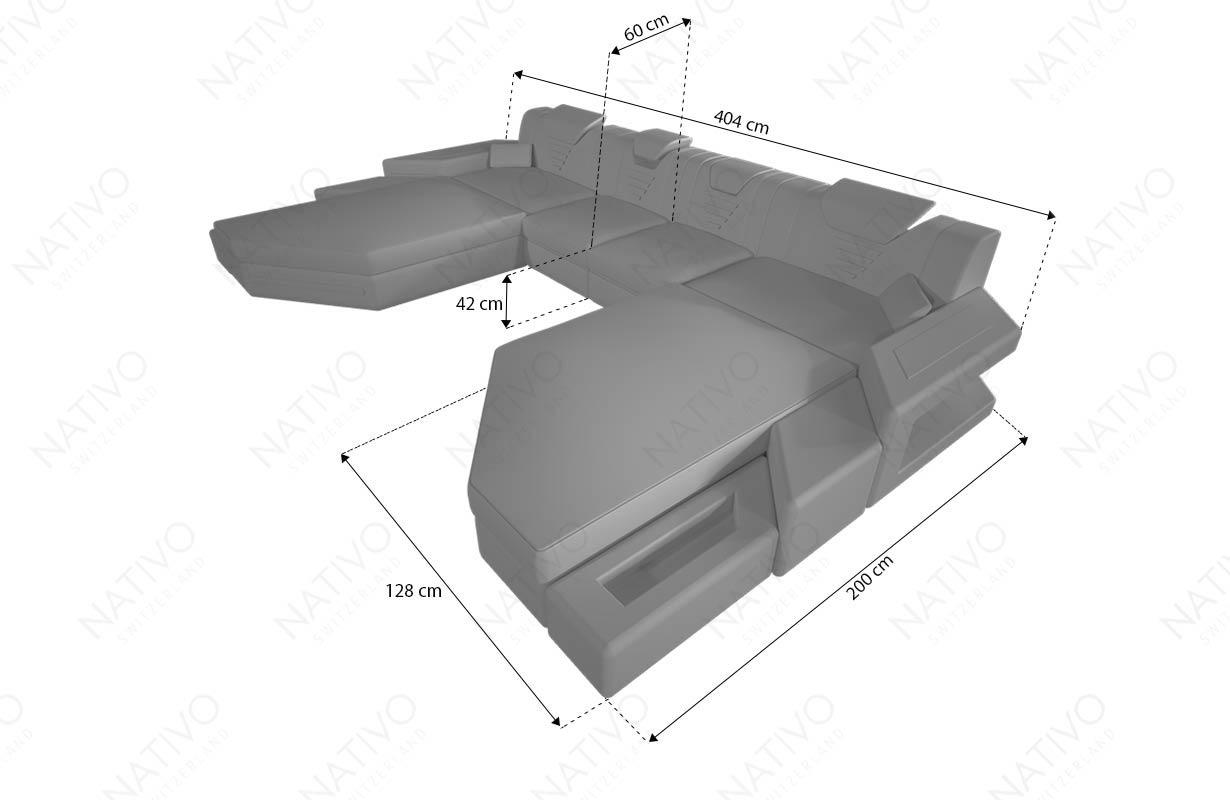 Designer Sofa NEMESIS XXL DUO mit LED Beleuchtung & USB Anschluss