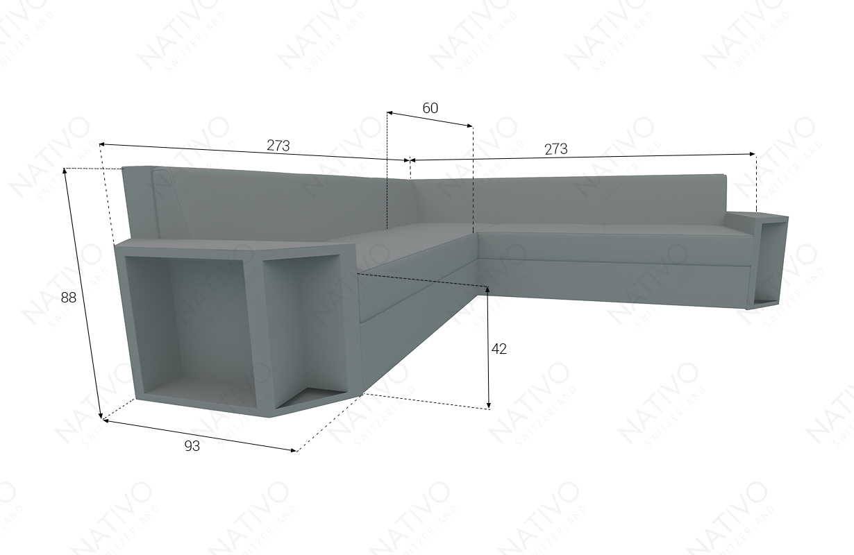 Dimensionen Designer Rattan Lounge Sofa AVENTADOR CORNER V2