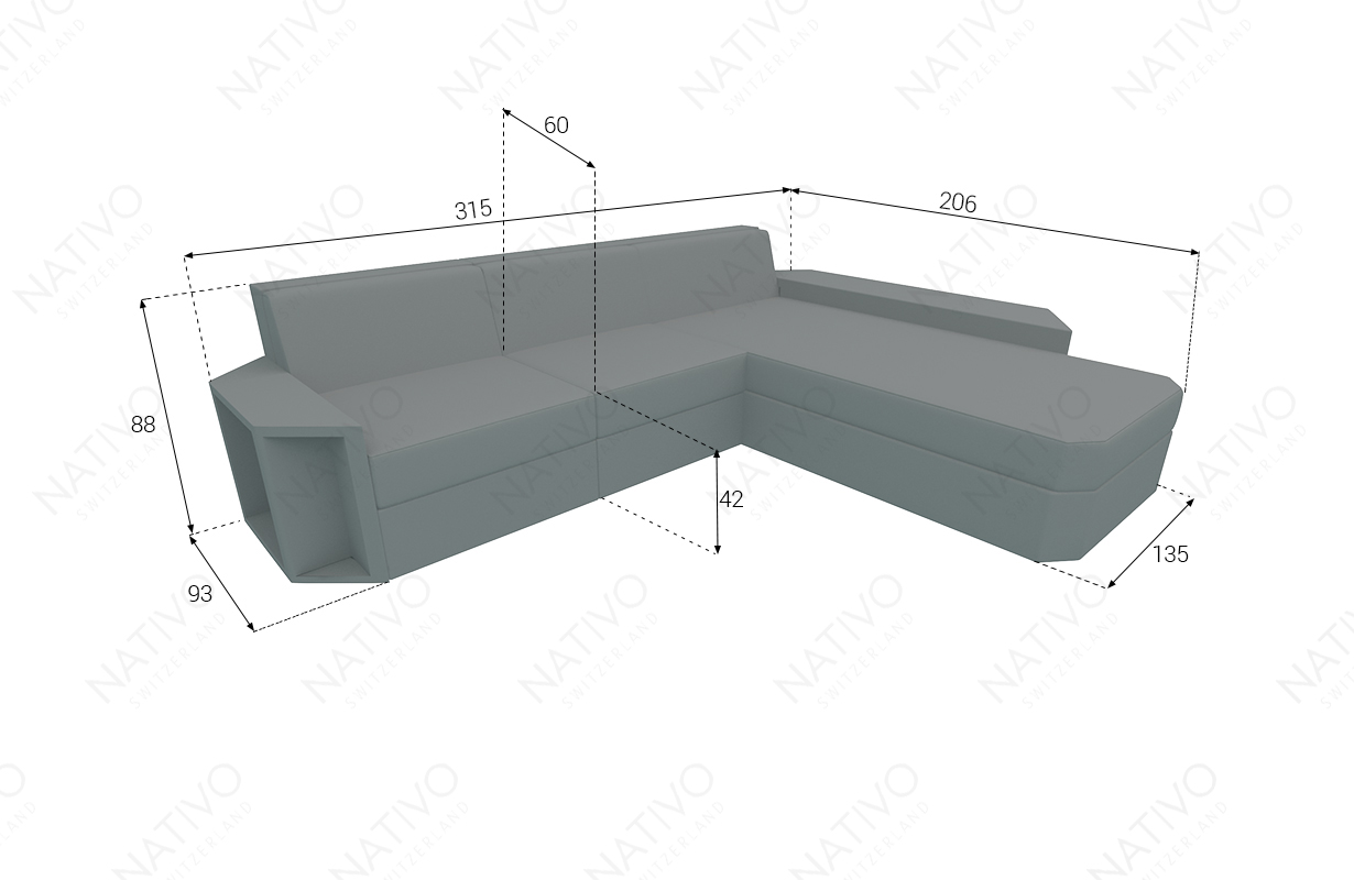 Dimensionen Designer Rattan Lounge Sofa AVENTADOR MINI V2