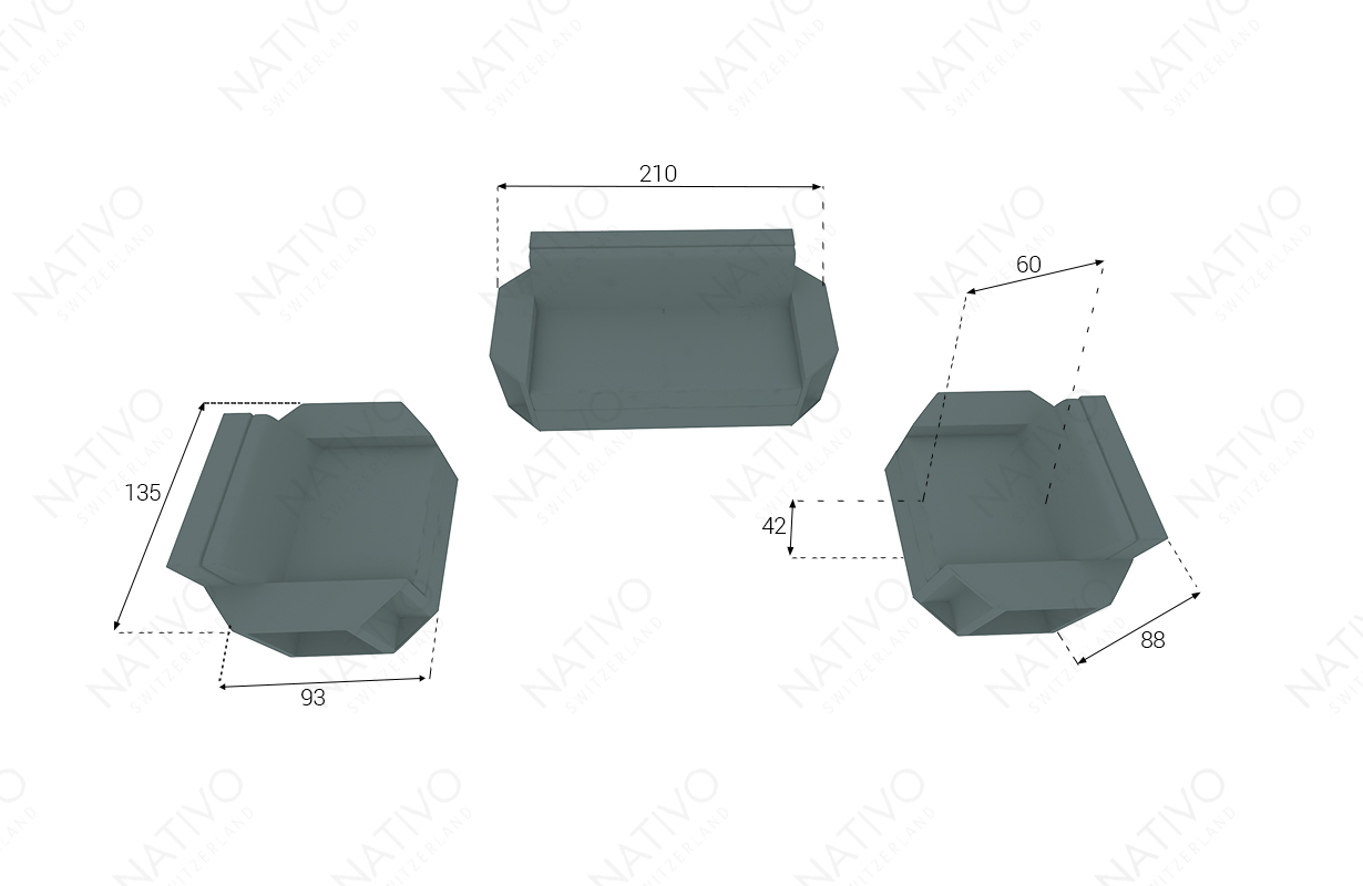 Dimensionen Designer Rattan Lounge Set AVENTADOR 2+1+1 V1