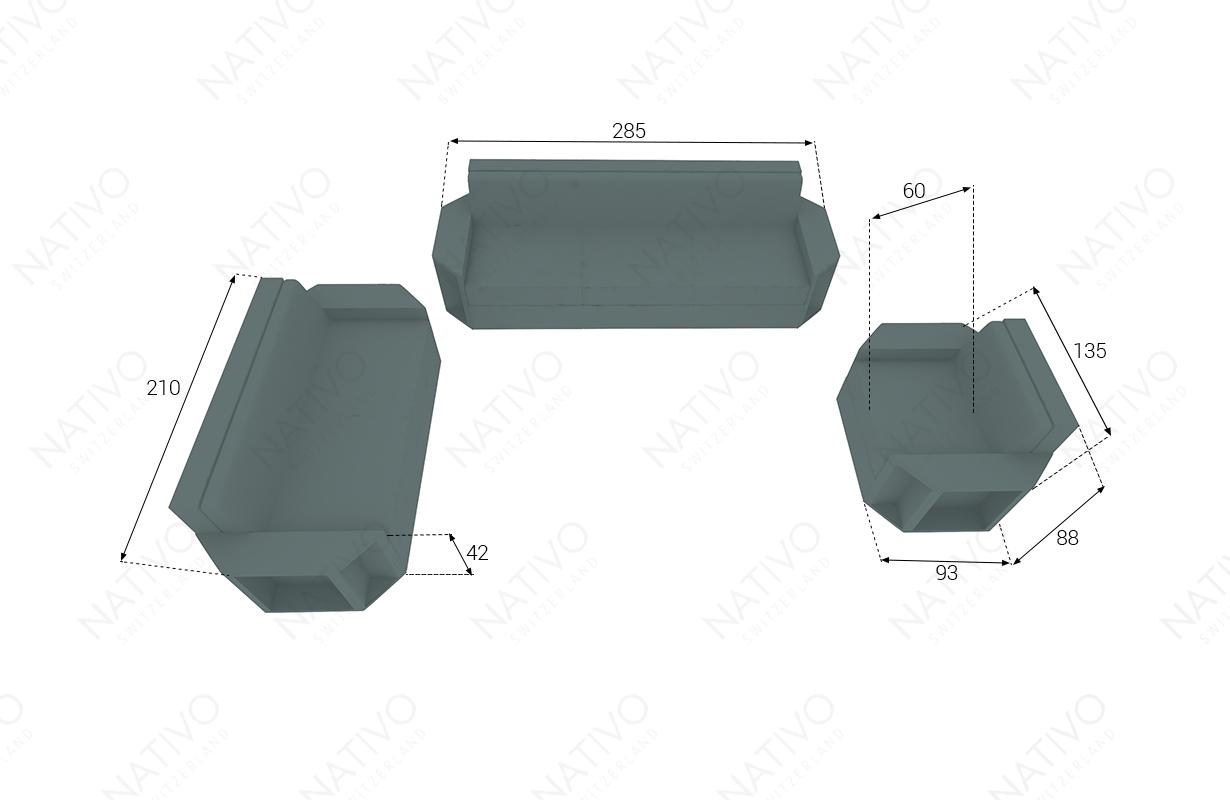 Dimensionen Designer Rattan Lounge Set AVENTADOR 3+2+1 V1