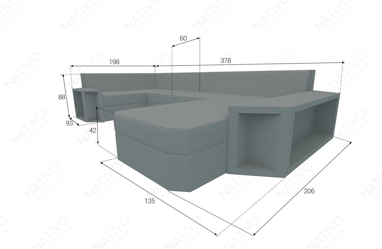 Dimensionen Designer Rattan Lounge Sofa AVENTADOR XL V2