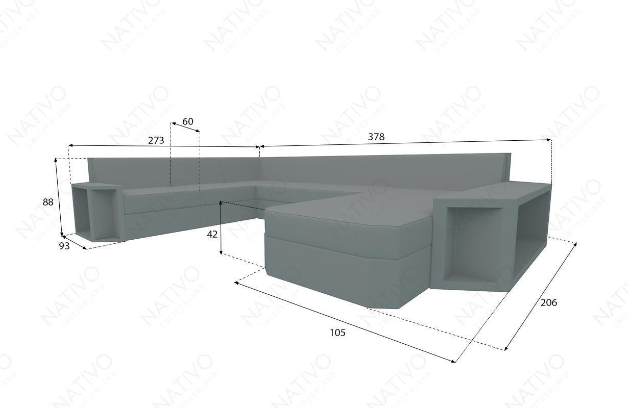 Dimensionen Designer Rattan Lounge Sofa AVENTADOR XXL V2