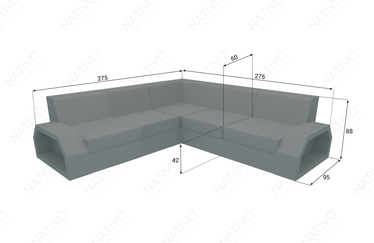 Dimensionen Designer Rattan Lounge Sofa CLERMONT CORNER V1
