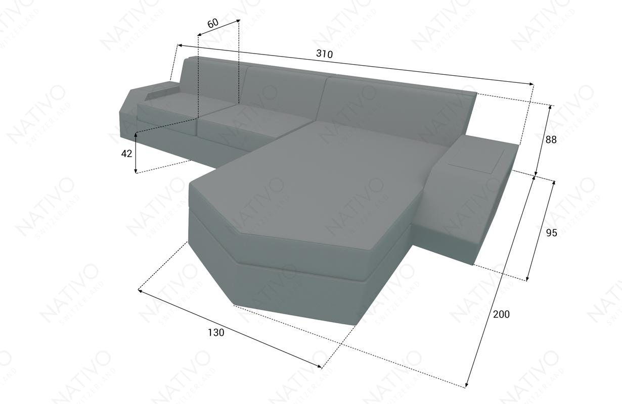 Dimensionen Designer Rattan Lounge Sofa CLERMONT MINI V2