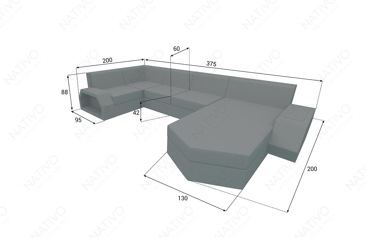 Dimensionen Designer Rattan Lounge Sofa CLERMONT XL V2