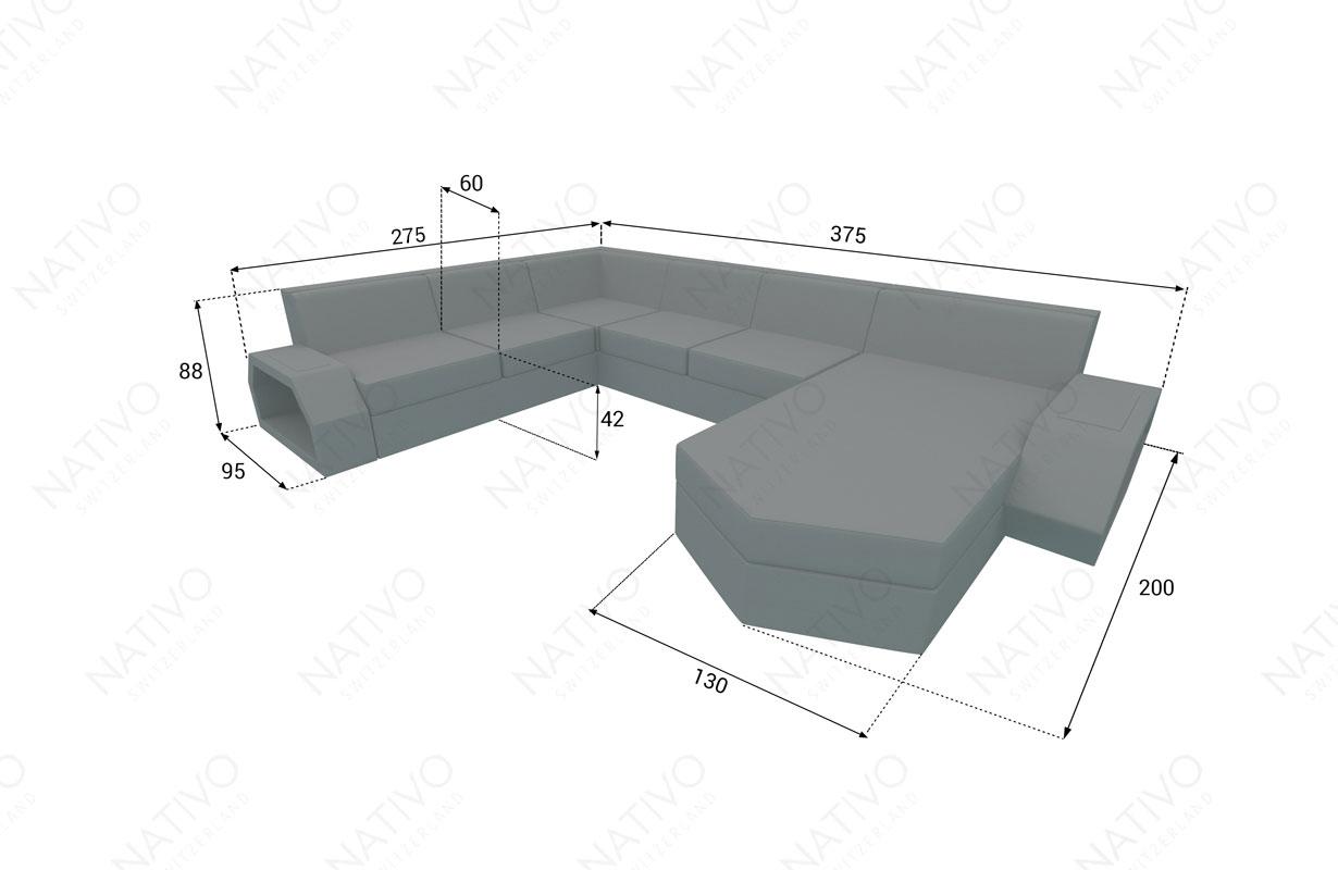 Dimensionen Designer Rattan Lounge Sofa CLERMONT XXL V2