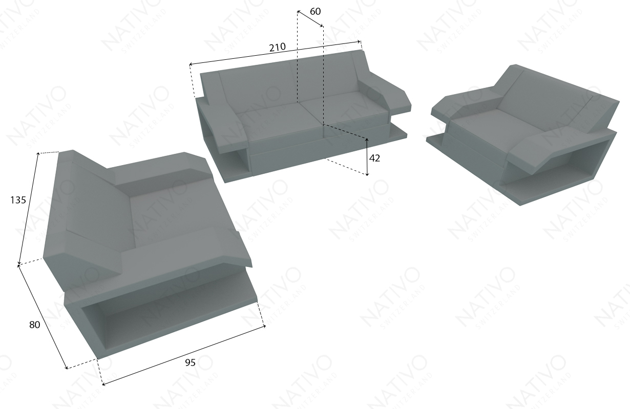 Designer Rattan Lounge Sofa MATIS 2+1+1