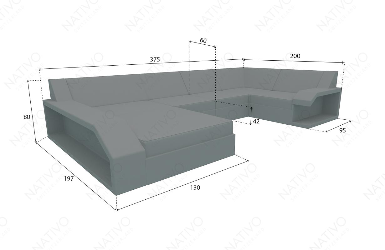 Dimensionen Designer Rattan Lounge Sofa MATIS XL