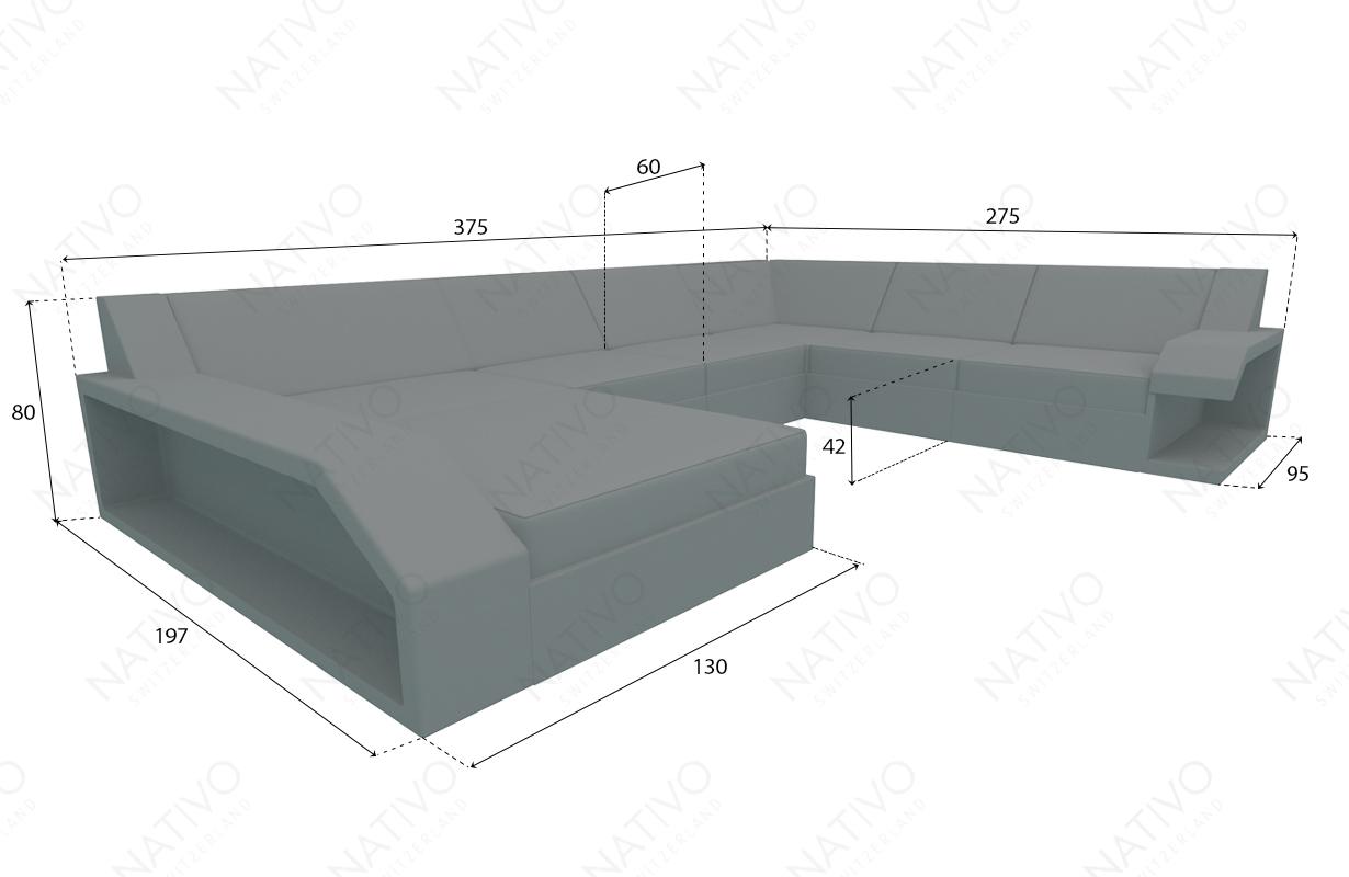 Dimensionen Designer Rattan Lounge Sofa MATIS XXL