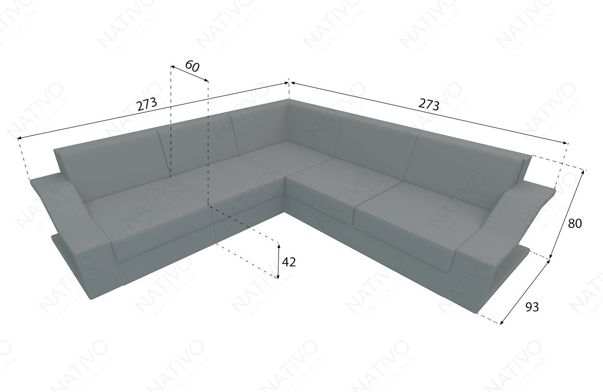 Dimensions Designer Rattan Lounge Sofa MIRAGE CORNER V2