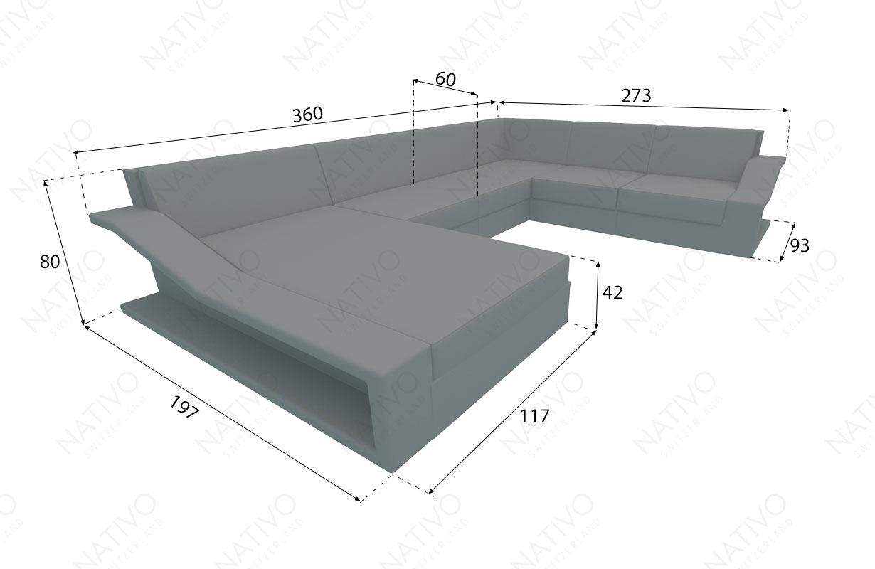 Dimensionen Designer Rattan Lounge Sofa MIRAGE XXL v1