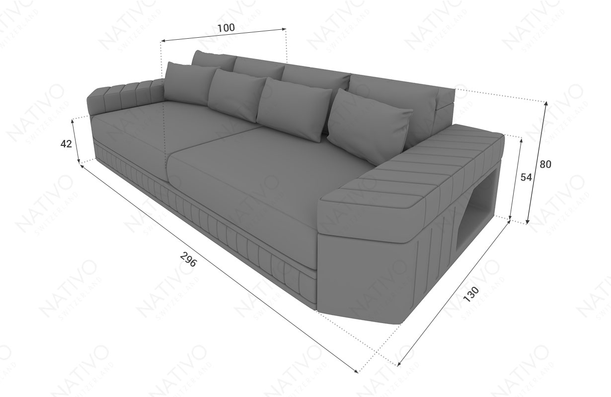 Dimensionen BIG Sofa SKYLINE mit LED Beleuchtung