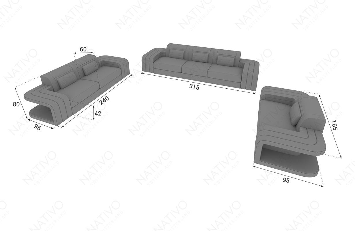 Dimensionen Designer Sofa SPACE 3+2+1 mit LED Beleuchtung