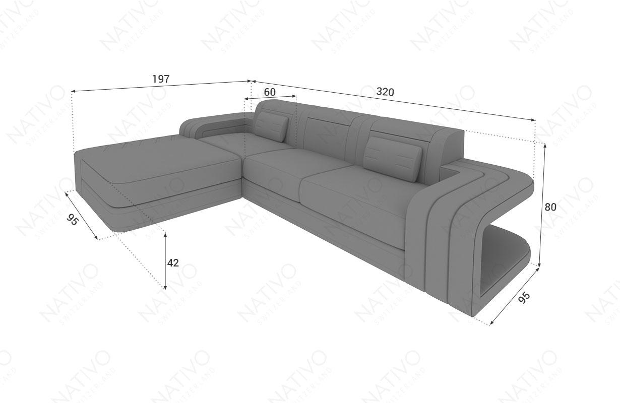 Dimensionen Designer Sofa SPACE MINI mit LED Beleuchtung