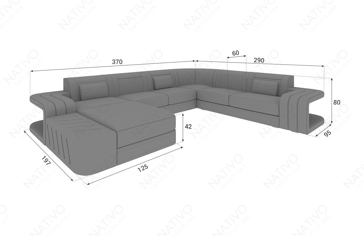 Dimensionen Designer Sofa SPACE XXL mit LED Beleuchtung