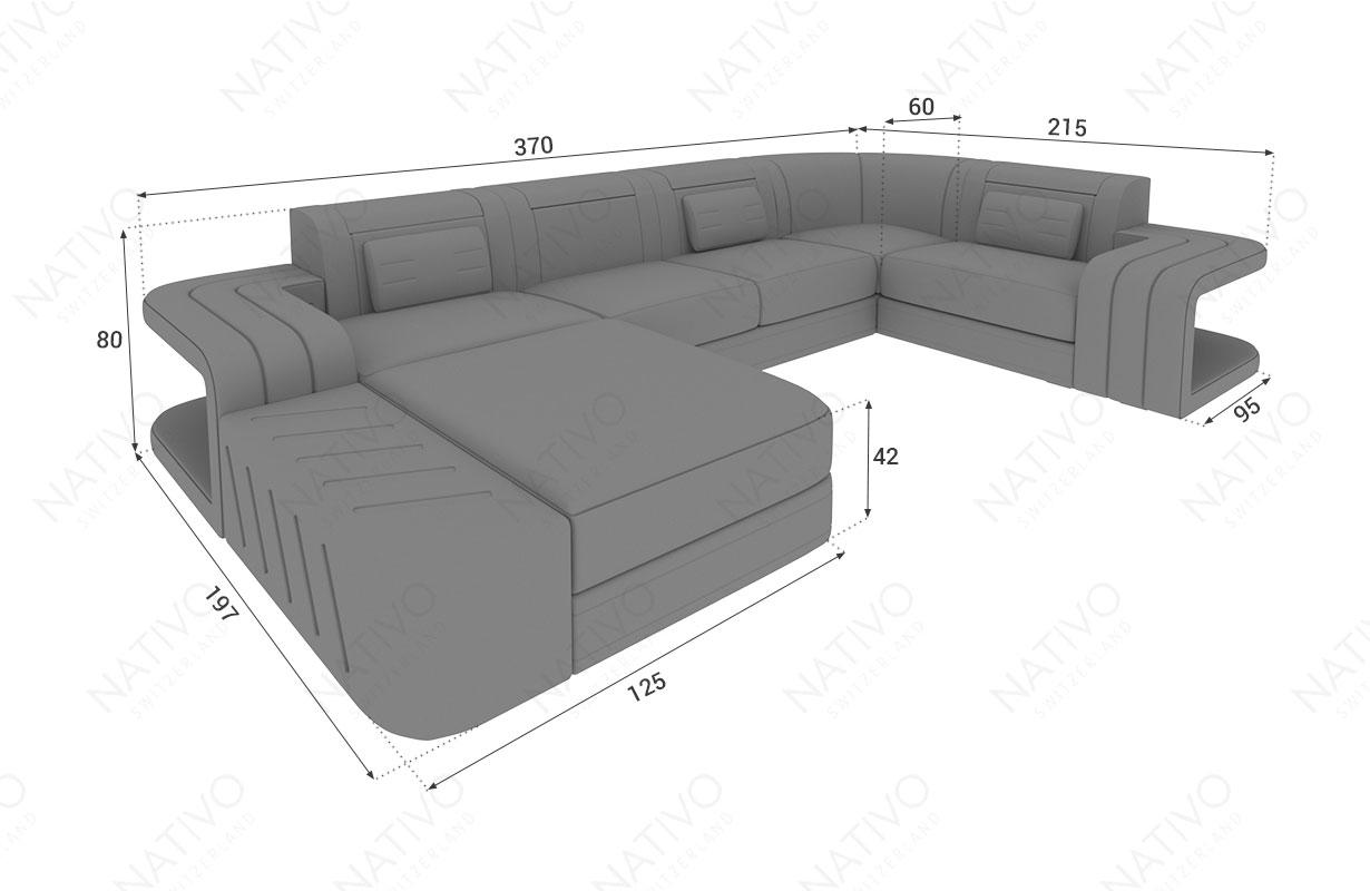 Dimensionen Designer Sofa SPACE XL mit LED Beleuchtung