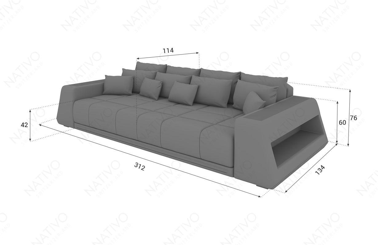 Dimensionen BIG Sofa VICE mit LED Beleuchtung